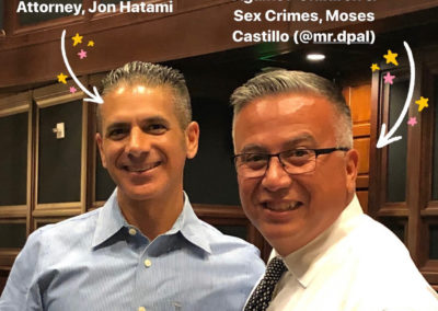 Moses Castillo in a photo with LA county district attorney, Jon Hatami